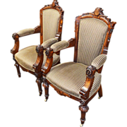 7770 Pair of Victorian Antique Walnut and Burl Parlor Chairs