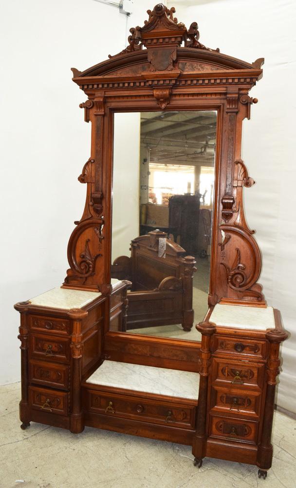 renaissance revival bedroom suite walnut and burl c 1870 by thomas