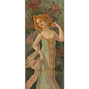 "Mary Golay ""Woman in Dress"" A French Art Nouveau Decorative Panel, c.1899"