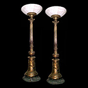 SALE 4714 Pair of Antique Bronze Torchères with Alabaster Shades & Marble Base