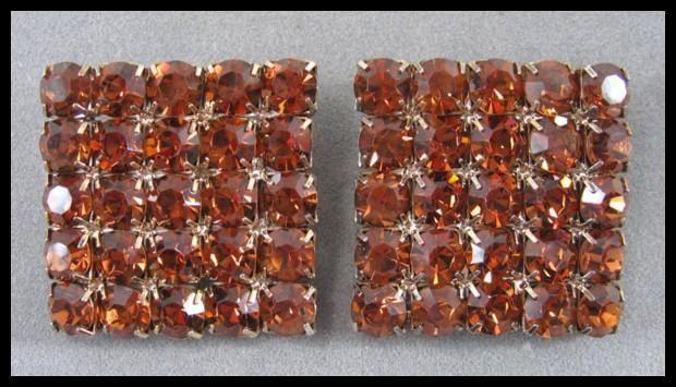 Large Square Honey Amber Colored Rhinestone Earrings