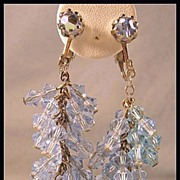 Gorgeous Blue Cluster Crystal Dangle Earrings