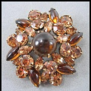 Warm and Wonderful Mink Colored Rhinestone Pin