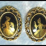 Earrings with Elegant Lady Figures