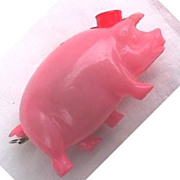 Pink Pig Celluloid Tape Measure