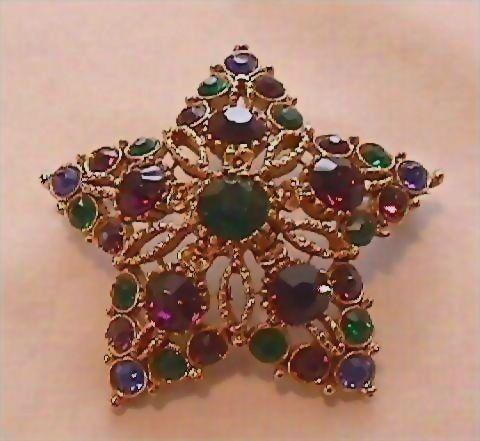 Star Shaped Multicolor Rhinestone Pin Brooch