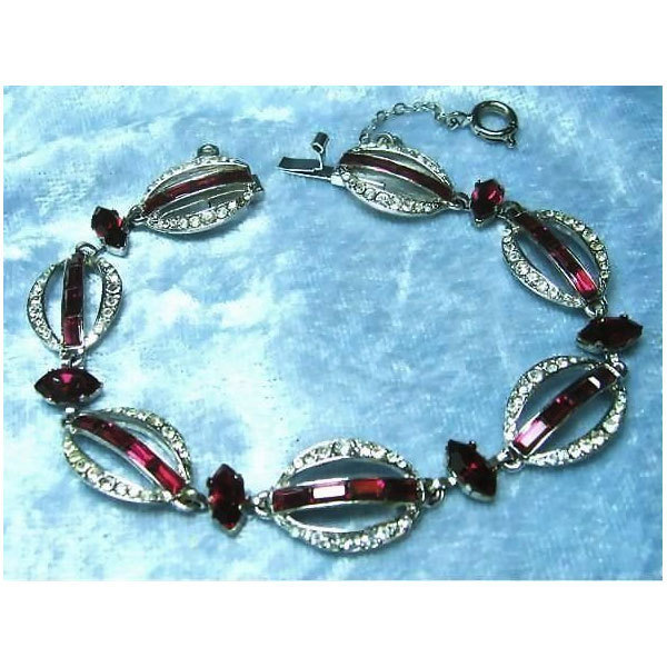 Gloriously Elegant Bracelet signed Austria with Red and Clear Rhinestones