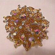 Amber Colored Crystal Pin - Aurora Borealis Brooch