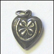 "Vintage Sterling Puffy Heart Charm ""Double Good Luck"""