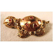 SALE Charming Turtle Pin Gold-tone Red