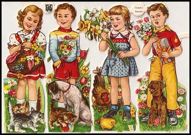 Vintage German Die Cuts of Children