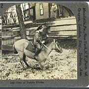 Boy on Pony - Keystone Stereo View
