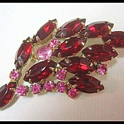 Just Too Pretty Red and Pink Rhinestone Pin