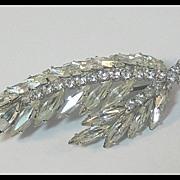 Elegant Feather Shaped Clear Rhinestone Pin