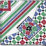 Unused Vintage Handkerchief with Pinstripes
