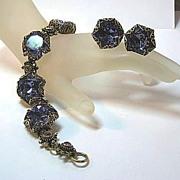 Ooh La La! Passion Purple Demi Parure Bracelet and Earrings with Large Stones