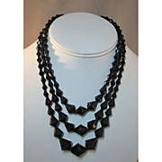 Three Strand French Jet Necklace Made in Germany Black Glass