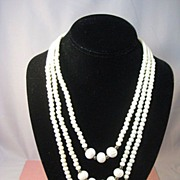 Ultra Long Three Strand Bone Necklace with American Indian Look