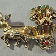 SOLD Donkey Cart Pin Brooch Unsigned Corocraft Designed by Alfred Katz