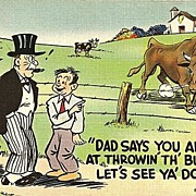 Humorous Postcard Out on the Farm