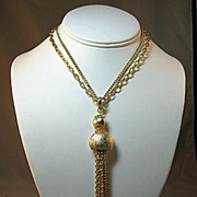 Gold-tone Double Chain Necklace with Elaborate Drop