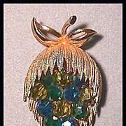 Striking Pin Brooch with Dangling Blue Aurora Borealis Crystals