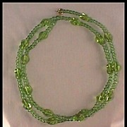 "Luscious Lime Green Glass Bead Necklace 29"" Long"