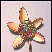 Trifari Flower Pin with Colored Rhinestones