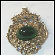 Unique Pin with Large Cabochon and Topped with Crown