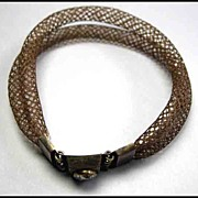 SOLD Stunning Victorian Hair Bracelet with Citron Stone Vintage Jewelry