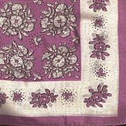 Purple and White Flowered Hankie Handkerchief