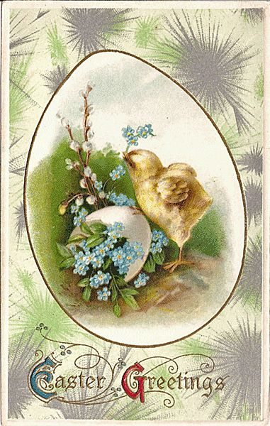 Winsch Easter Postcard with a Chick and Blue German Flowers