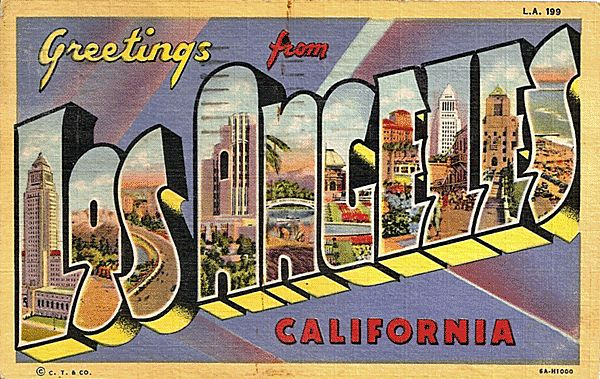 Big Letter Greetings from Los Angeles California Postcard