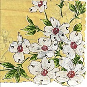 SOLD Lovely Yellow Hankie Handkerchief Adorned with Dogwood Flowers