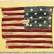 Postcard Depicting the Original Star Spangled Banner, U.S. National Museum, Smithsonian Instit