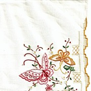 SOLD Beautiful Madeira Hankie with Butterflies and Flowers