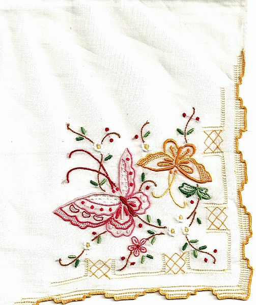 Beautiful Madeira Hankie with Butterflies and Flowers