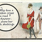 """Humorous Postcard """"Why Does a Chicken Cross the Road"""""""