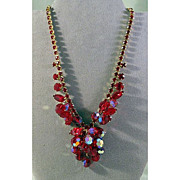 Juliana Bright Red Rhinestone and Crystal Necklace