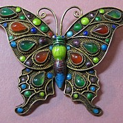 SOLD Butterfly Pin Silver with Gold Vermeil, Enamel and Stones