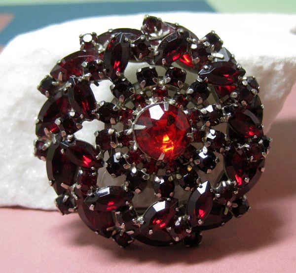 Dimensional Deep Red Rhinestone Pin