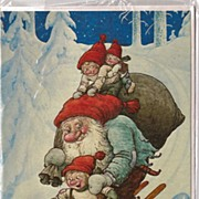 """SOLD Unused Christmas Card by Rolf Lidberg called """"Just hold me tight"""""""