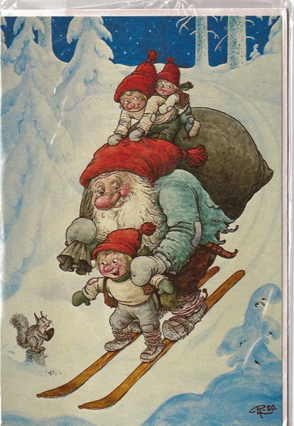 "Unused Christmas Card by Rolf Lidberg called ""Just hold me tight"""