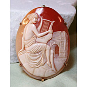 Shell Cameo in 14 K Gold Setting - Maiden Playing Lyre with Arc de Triomphe in Background Fine