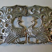 SOLD Amazing English Sterling Peacock Buckle Art Nouveau
