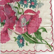 Lovely Hankie with Large Pink Flowers