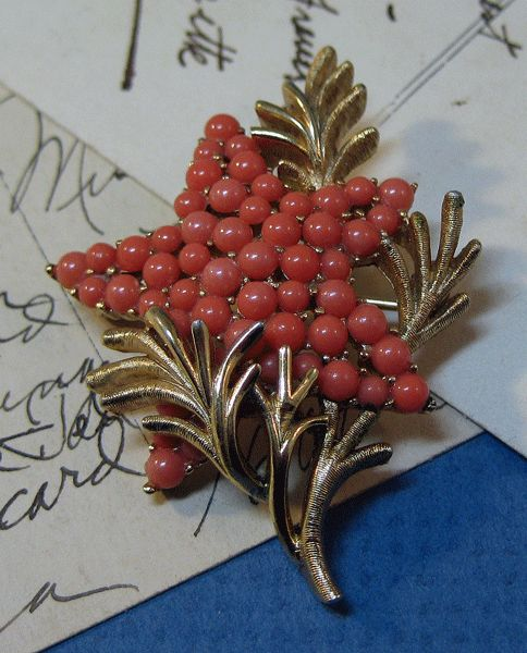 Crown Trifari Star Pin with Coral Colored Beads