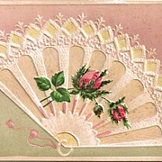 SOLD Embossed Postcard of Fan and Roses