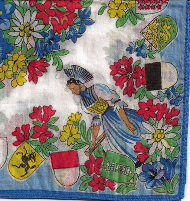 Colorful France Hankie with Native Costumes and Coat of Arms