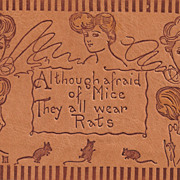 """Leather Postcard of Ladies Wearing """"Rats"""" in Their Hair"""